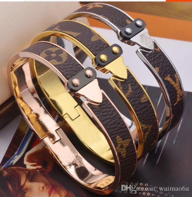 2019 sıcak 18 K gül altın bilezik kadın titanyum çelik vahşi bilezik aksesuarları moda kişilik desen deri L harfi