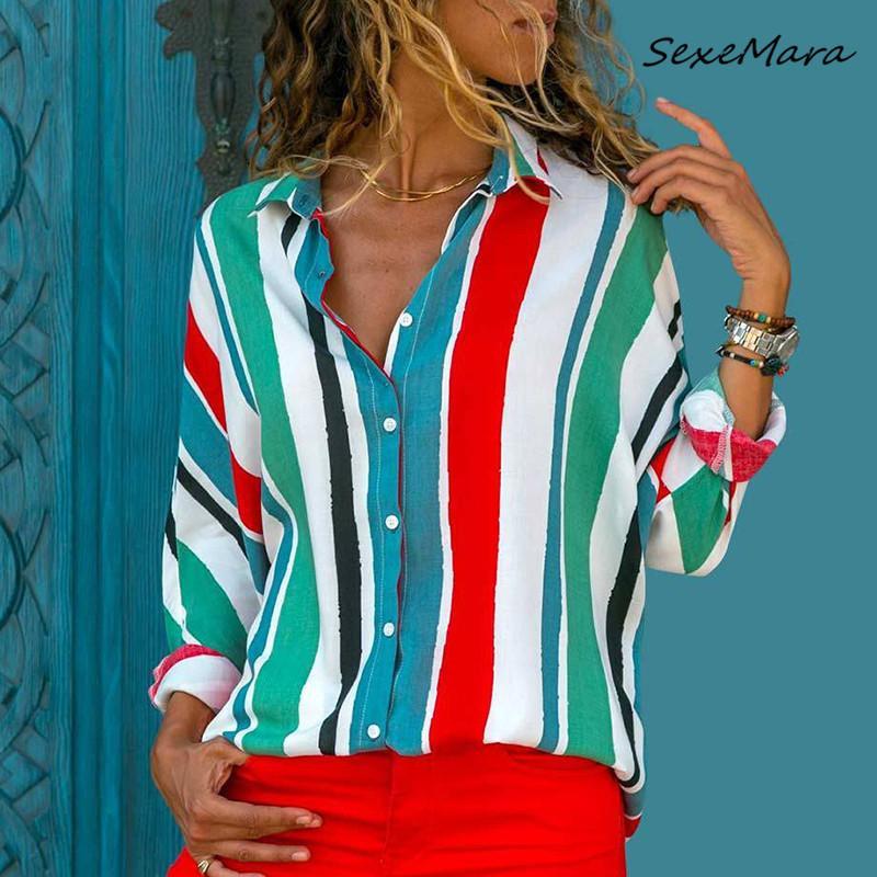Nuovi 2020 Primavera Donna Casual camicie a righe moda a maniche lunghe allentate Camicette per le signore
