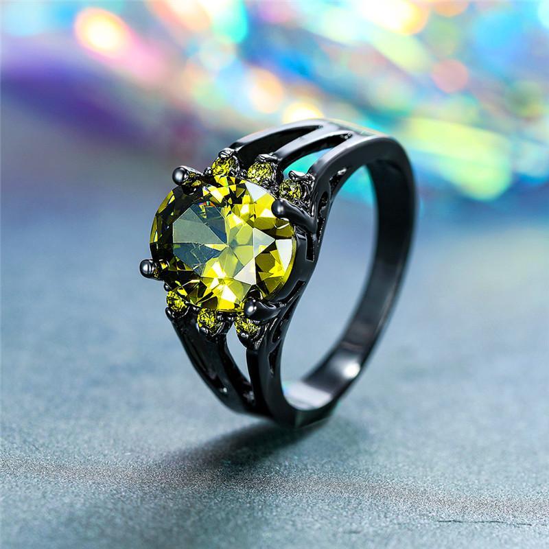 여성 약속 사랑 타원형 약혼 반지에 대 한 빈티지 여성 빅 올리브 그린 스톤 링 패션 블랙 골드 결혼 반지