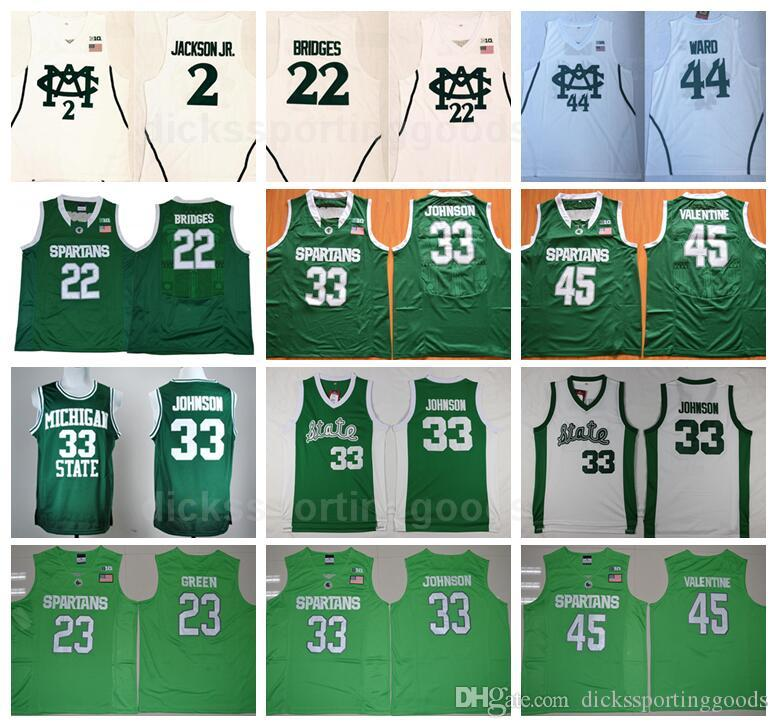NCAA Koleji Michigan State Spartans 22 Mil Köprüler Forması Basketbol 2 Jaren Jackson Jr 33 Johnson 45 Denzel Sevgililer 44 Nick Ward