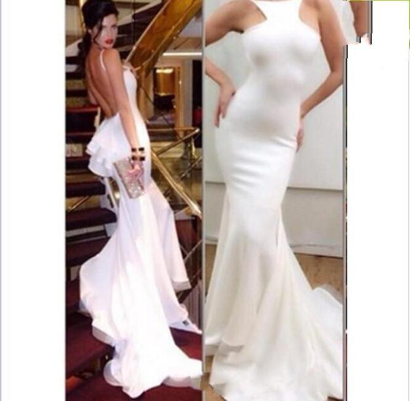 2019 New Custom Made Two Pieces Formal Evening Dresses for Daughter and Mother Sexy Ivory Mermaid Backless Red Carpet Celebrity Dress