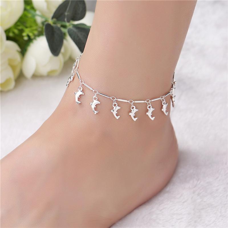 Bijoux de pied d'argent de pied de dauphin de mode pour les femmes et les filles Bracelet de cheville superposée de dauphin