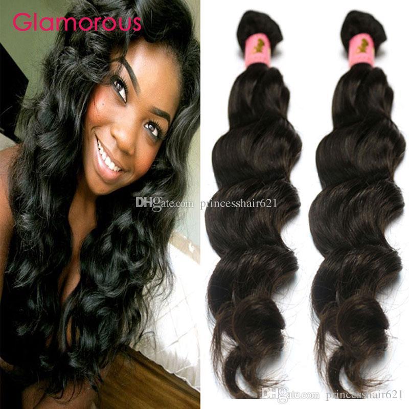Glamorous Virgin İnsan Saç Atkı 2 Demetleri Brezilyalı Örgü 8-34 inç Düşük Fiyat Perulu Hint Malezya Dalgalı Saç Uzantıları Kraliçe Saç Ürün