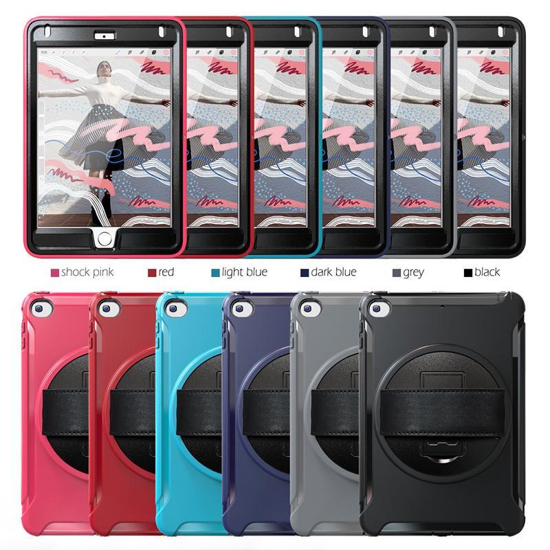 """ثلاثة في واحد كامل لحماية الجسم Kickstand تسوية اليد الفرقة ل iPad 9.7 """"باد ميني 12345 Samsung Tab A ستة ألوان اختيارية"""