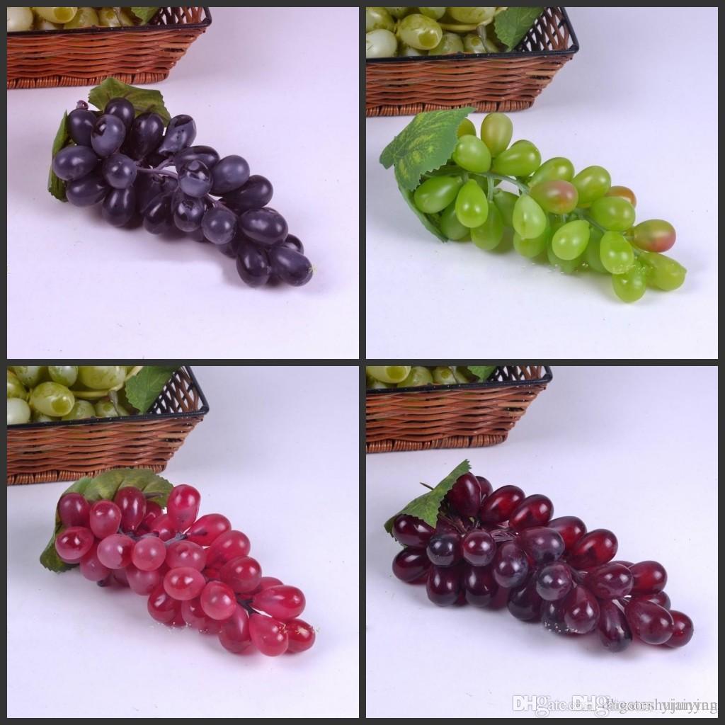 18 cm de longitud falso artificial uvas de plástico realista fiesta de la boda decorativo fruta manojos Inicio decoración del jardín envío libre