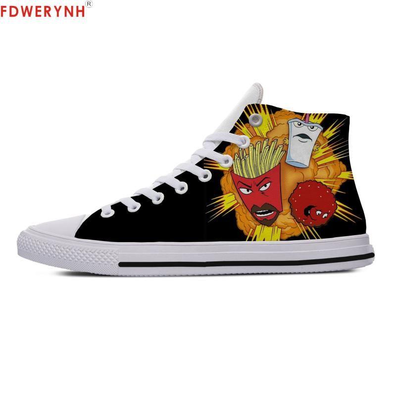 Gli uomini scarpe da trekking Aqua Teen Hunger Force immagini personalizzate o scarpe High Top Canvas Lace-up Moda piatto