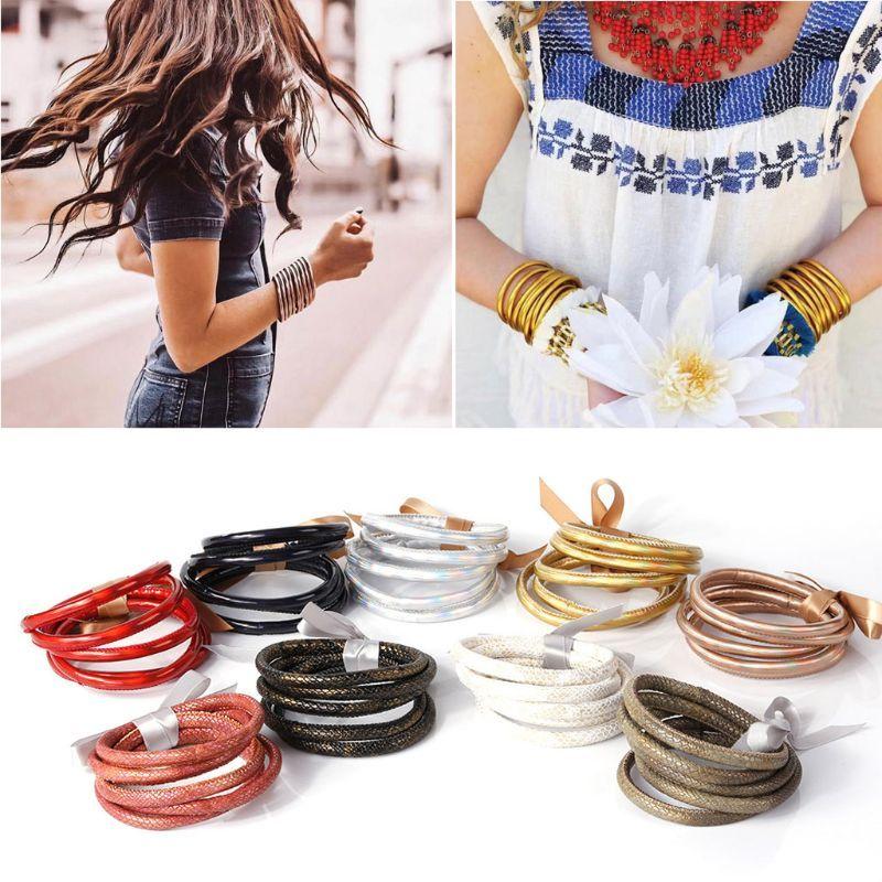 5pc Bohême Glitter Jelly Bracelet Set Bowtie PU cuir Bracelets Hoop doublure Bijoux Fashion légère