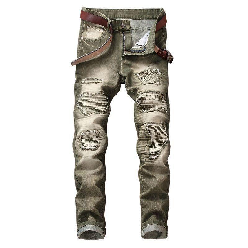 2020 Yeni Marka Biker Jeans Erkekler Yüksek Stretch Kargo Denim Jeans Katı Tasarımcı Pileli İnce Jean Erkekler Çizik Pantolon Pantolon