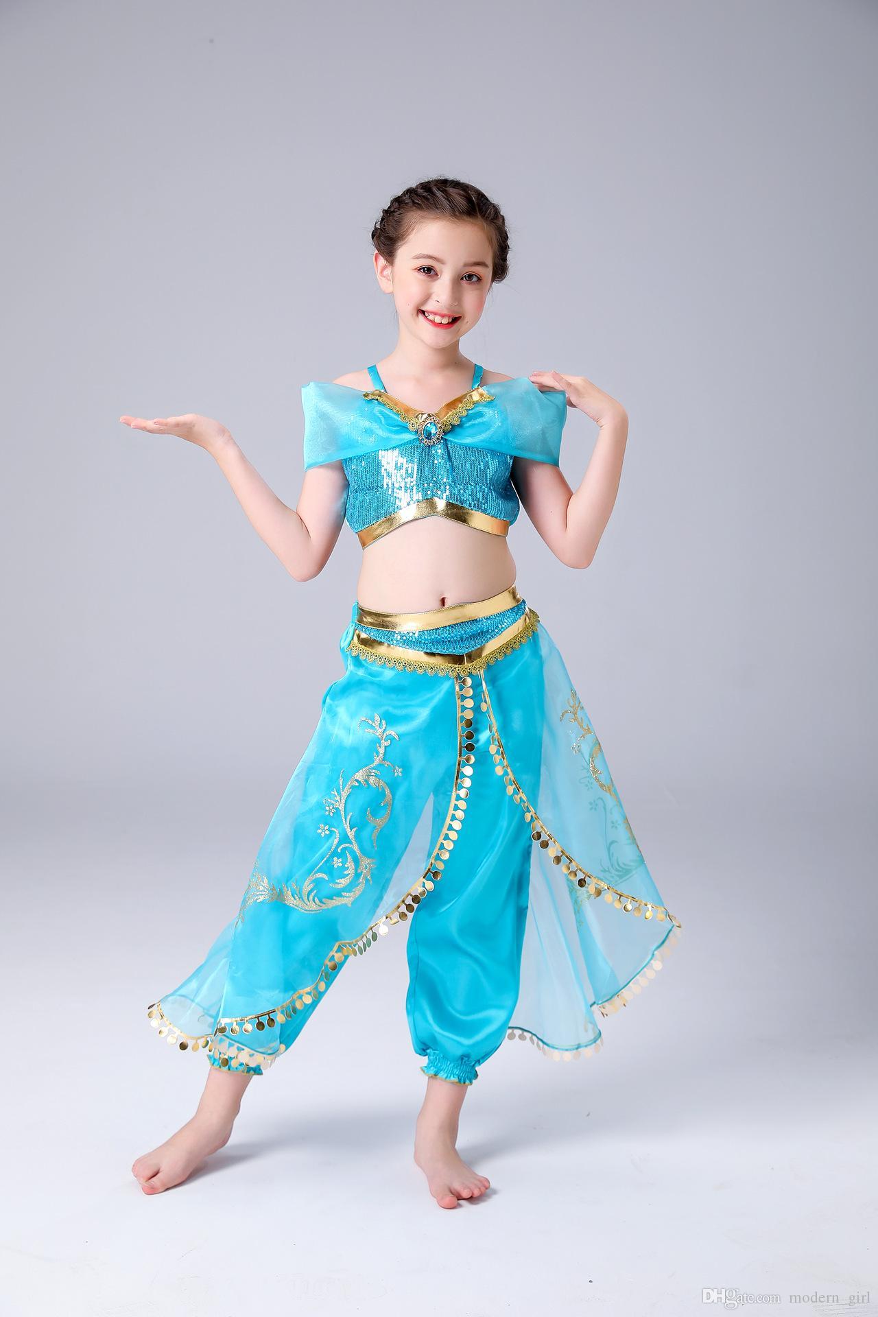Latince kız pantolon elbise Göbek Giyim Çocuk prenses etek COS kostüm Avrupalı ve Amerikalı çocukların Noel iki parçalı takım elbise dans