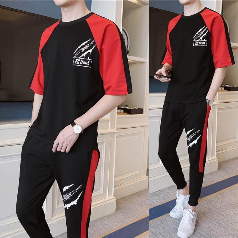 Chándales Moda Trajes del deporte de los hombres ocasionales de los hombres Breatnable suave Paño de la impresión media manga de las camisetas de los pantalones Mezcla de algodón Tamaño S-3XL al por mayor de l