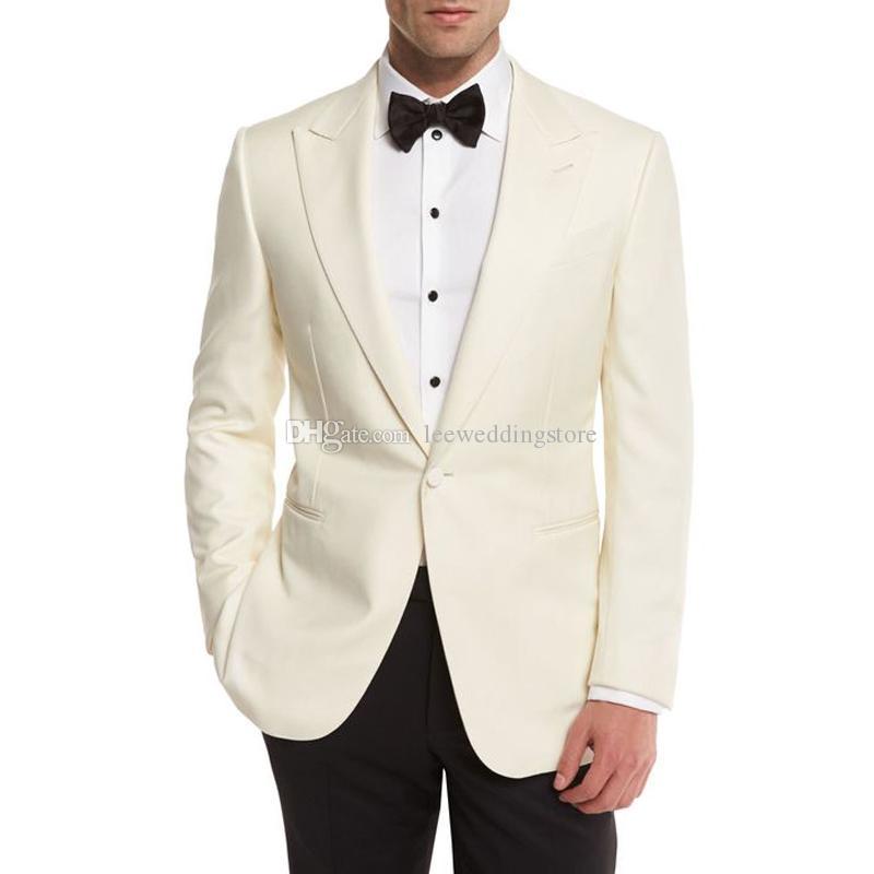 Abiti da uomo avorio Abito da sposa Sposo da sposo d'affari da lavoro Smoking Custom Made da uomo Slim Fit Giacche da uomo Groomsmen da uomo Best Jacket Jacket