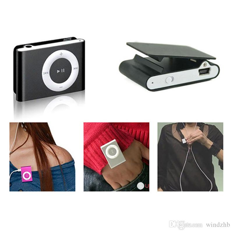 Portable Mini Metal Clip MP3 Player with 8 Candy Colors No Memory Card Sport 3.5mm Music Player with TF Slot Earphone USB Cable
