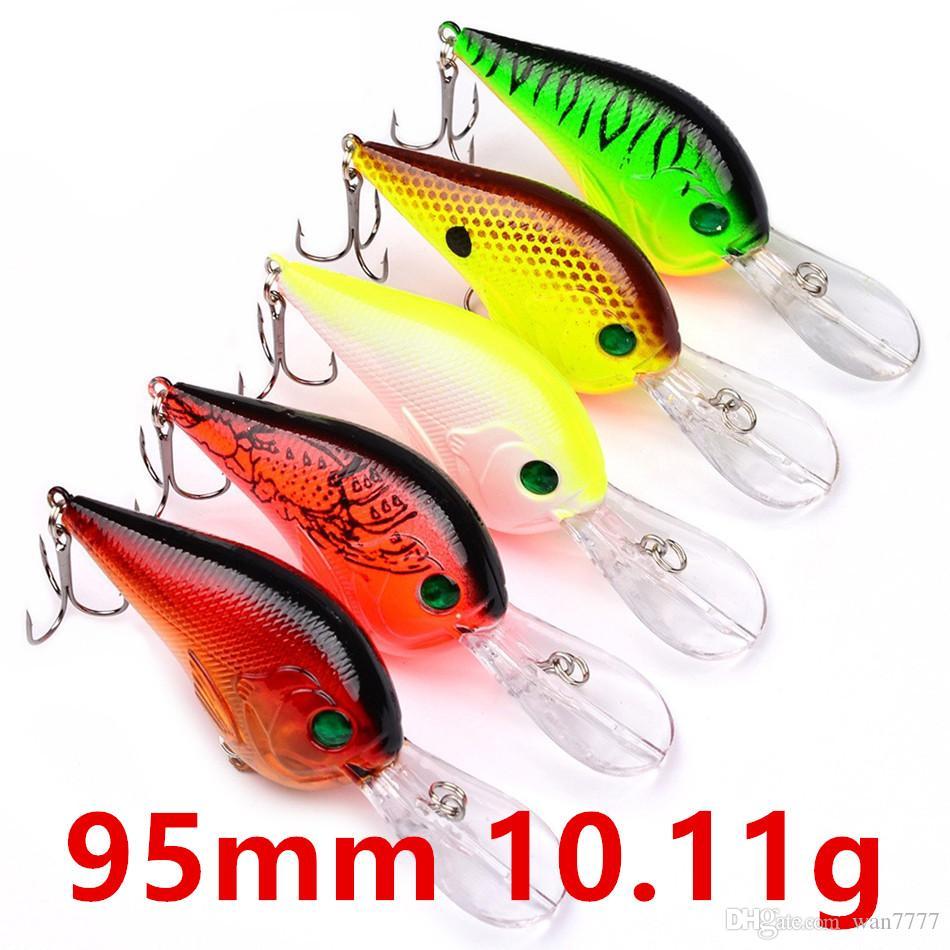 Mixed 5 Color 95mm 10.11g Crank Fishing Hooks Fishhooks 6# Hook Hard Baits & Lures Fishing Accessories