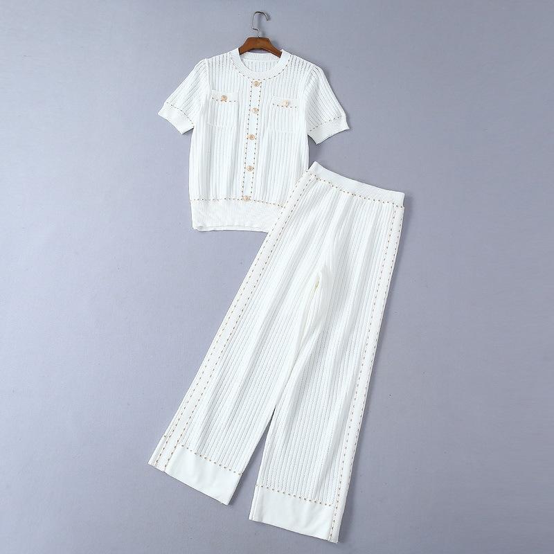 2019 signore di lusso recenti in maglia arrotondati Collar Top Pants 2 parti ha regolato il vestito a maniche corte di stirata di modo Knit due pezzi Set 190606L1215