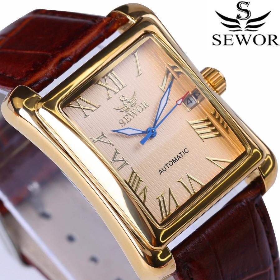 Nueva Sewor Top Brand Luxury Rectangular Men Relojes Reloj mecánico automático Pantalla romana Reloj antiguo Relogio reloj de pulsera J190705