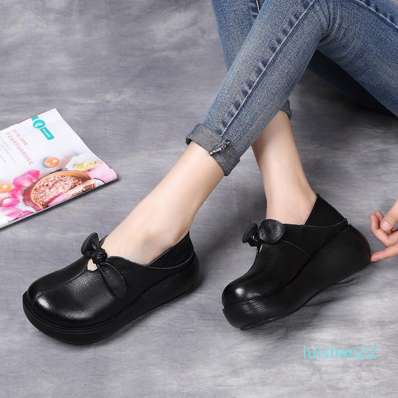 Xiuteng Bahar Kadınlar Flats Flats Gerçek Deri Bayan Loafers Günlük Ayakkabılar Kadınlar Creepers 2020 l22 tarihinde Platformu Sneakers Slip, Ayakkabı