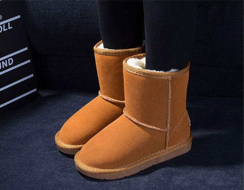 2020 XMAS GIFT Classic short Child snow boot girl boy winter boots kids Baby boots cowhide winter boots Eur size: 21-35