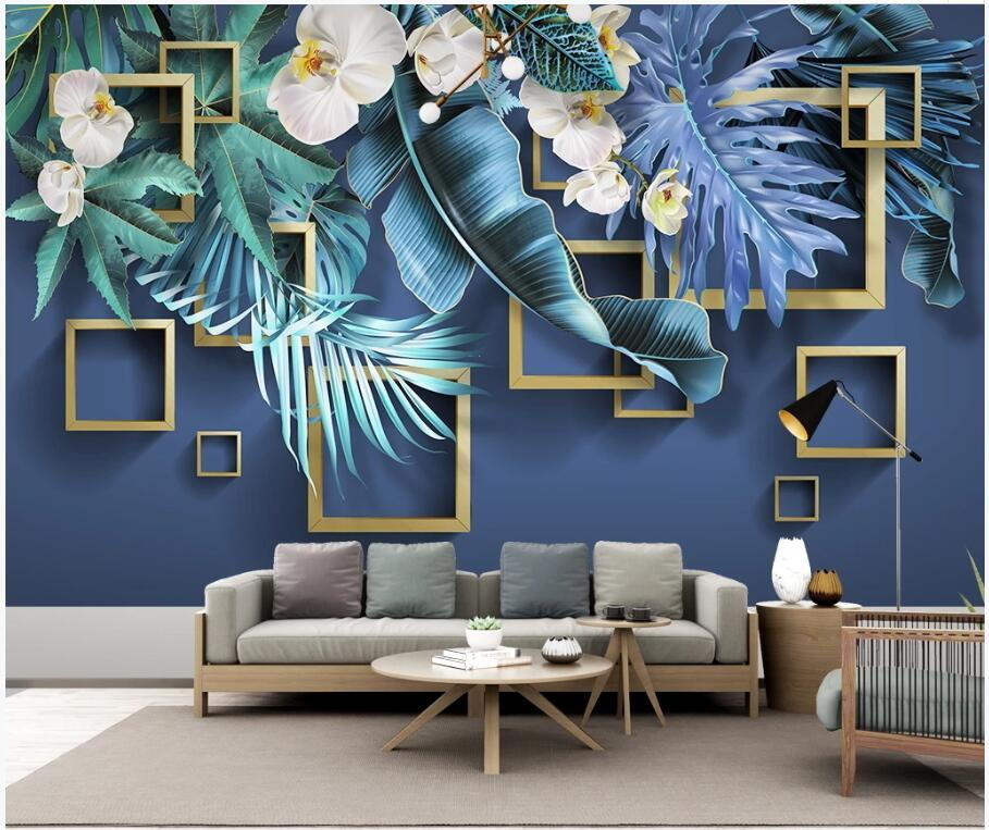 Wdbh 3d photo wallpaper custom male Tropical plant flower tv painting Home decor living Room wallpaper for walls 3d