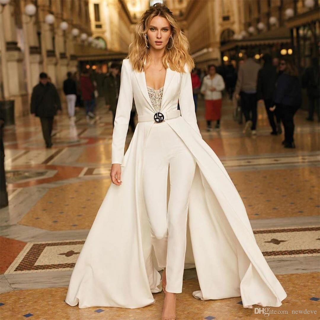 White Jumpsuits Evening Dresses with Jacket 2020 Arabic Long Sleeves Satin Prom Gowns Sexy Formal Party Bridesmaid Pageant Wear