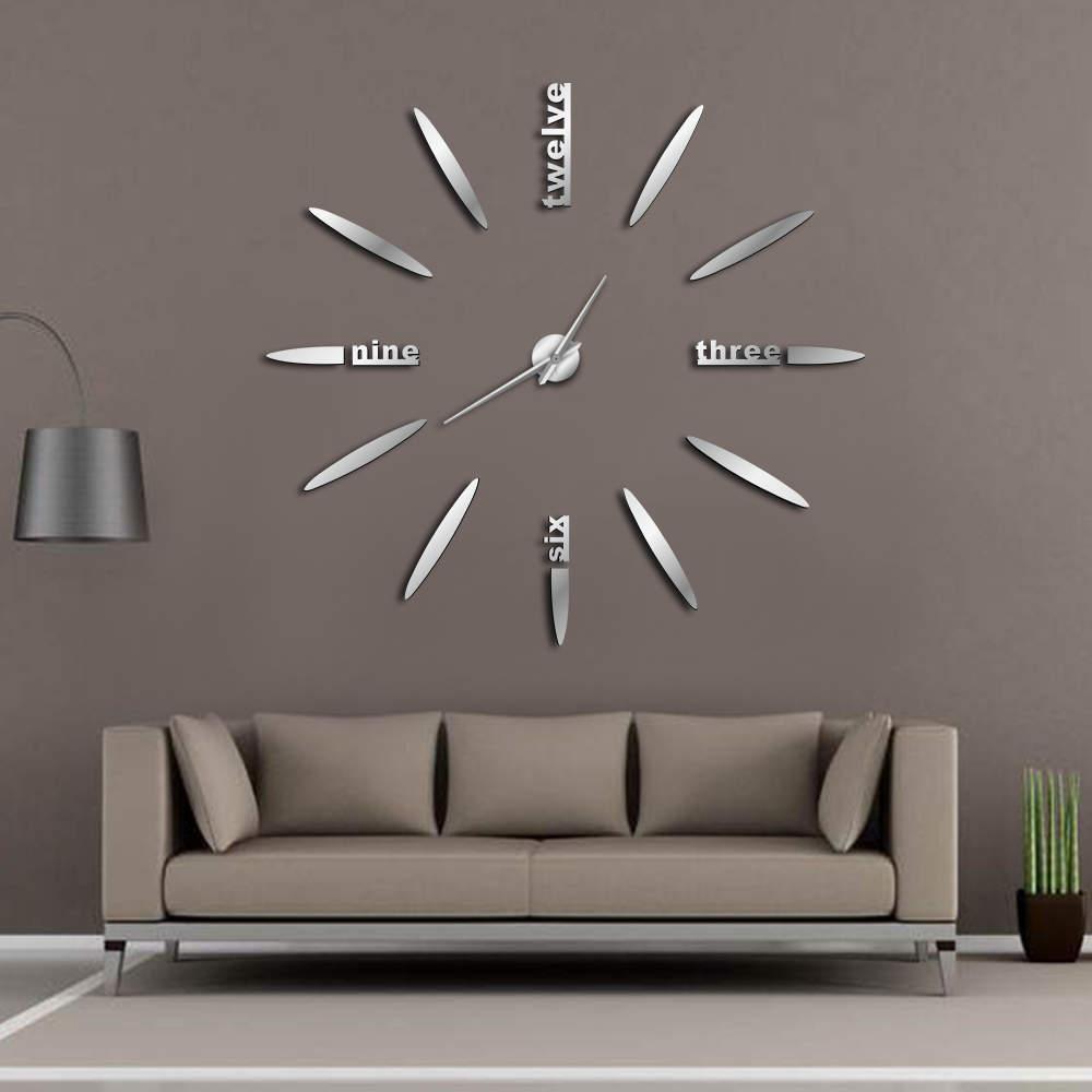 Espejo DIY del reloj de pared 3D reloj de pared de grandes pegatinas de pared Relojes de silencio para sala de estar dormitorio principal Decoración