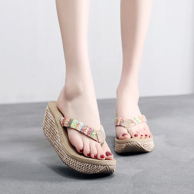 Shujin étnicas sandalias de la plataforma del talón de las mujeres 2019 zapatos de la manera del verano de la correa de zapatillas de playa Chanclas Zueco cuña voltear sandalias
