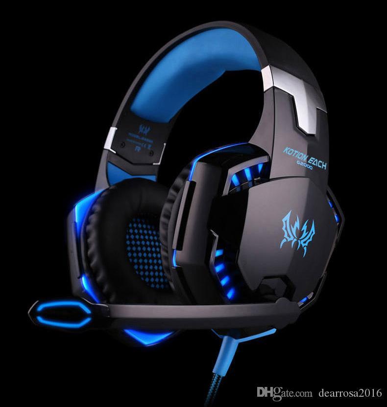 Fones de ouvido de jogos de computador estéreo sobre ouvido deep bass jogo fone de ouvido headband fone de ouvido com microfone led luz música fone de ouvido para pc portátil