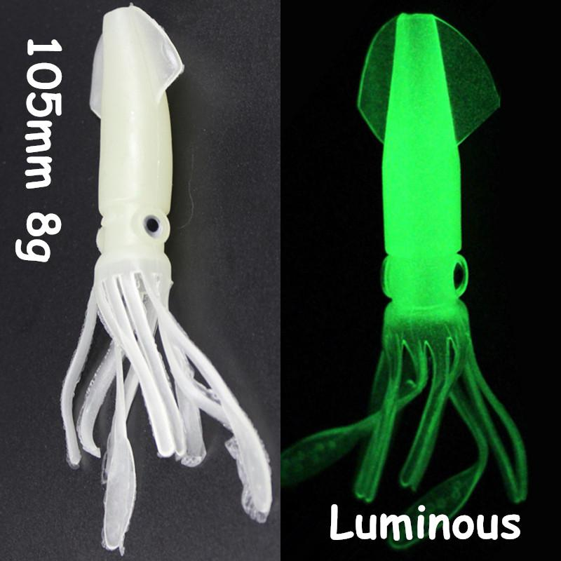 1pc 3D Eyes Luminous Squid Fishing Lure PVC Soft Baits & Lures 105mm 8g WA_46