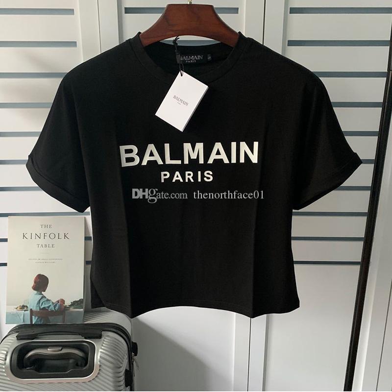 Balmain-Frauen Baumwolle lose Buchstaben Nabel kurzer Absatz T-Shirt-Qualitäts-Frauen Sommer-Kurzschluss-Hülsen-Art und Weise Frauen Tee Größe S ausgesetzt