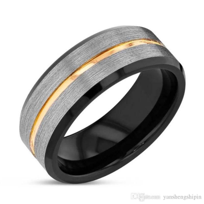 8mm Mat Bitirmek Gümüş Fırçalı Siyah kenar Tungsten Yüzükler Altın Şerit erkek Düğün Band Yüzük Boyutu 6-13