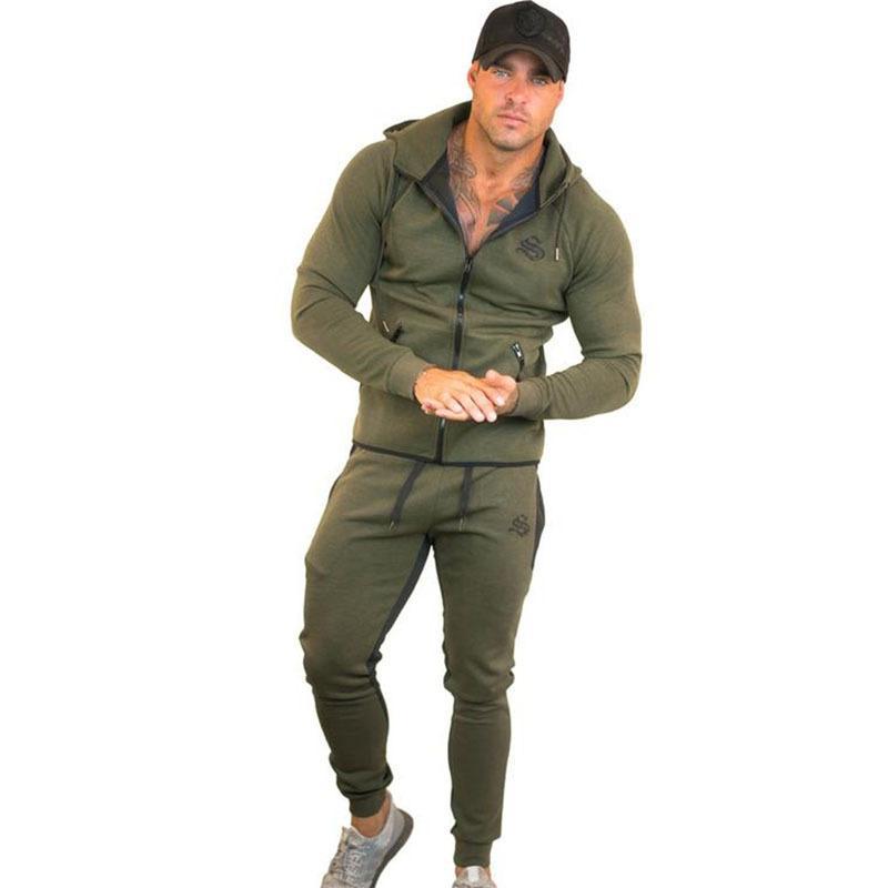 Suit, Gym Clothes With Hood Jacket Men Running Man Fitness Body Building Men Hoodies + Pants Jogging Sport Suit Together
