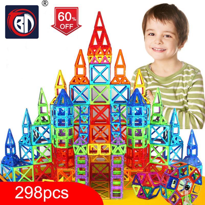 100-298pcs Blocks Magnetic Designer Construction Set Model & Building Toy Plastic Magnetic Blocks Educational Toys For Kids Gift S200112