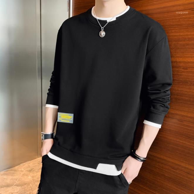 O шеи Мужской Одежда с длинным рукавом Свободные Mens Casual одежда Мужская мода Solid Color Толстовки пассивом Одежда