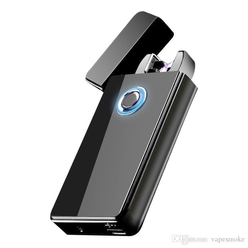 Двойная дуга Плазменной зажигалки USB аккумуляторный ветрозащитный беспламенной Электрическая зажигалка для сигар Свечи Cigarette