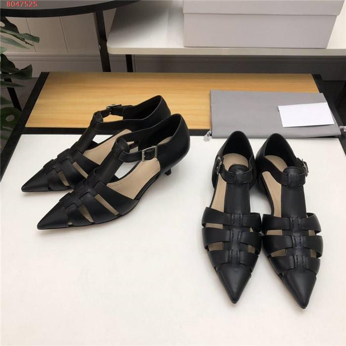 2020 Vintage Sexy calf Leather Elegant Women with comfortable low heel Pointed Toe Vamp hollow-out with Dress Shoes for party office