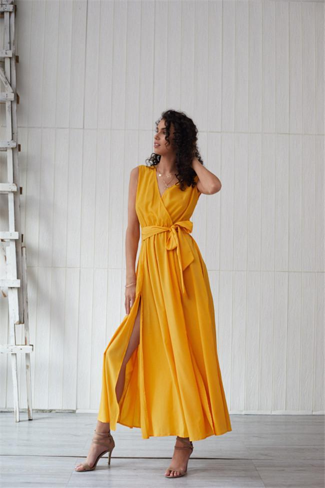 Frauen Deisnger Fest Farbe legere Kleidung Mode Ärmel Sommer mit V-Ausschnitt Famale Kleidung Lace Up Kleid