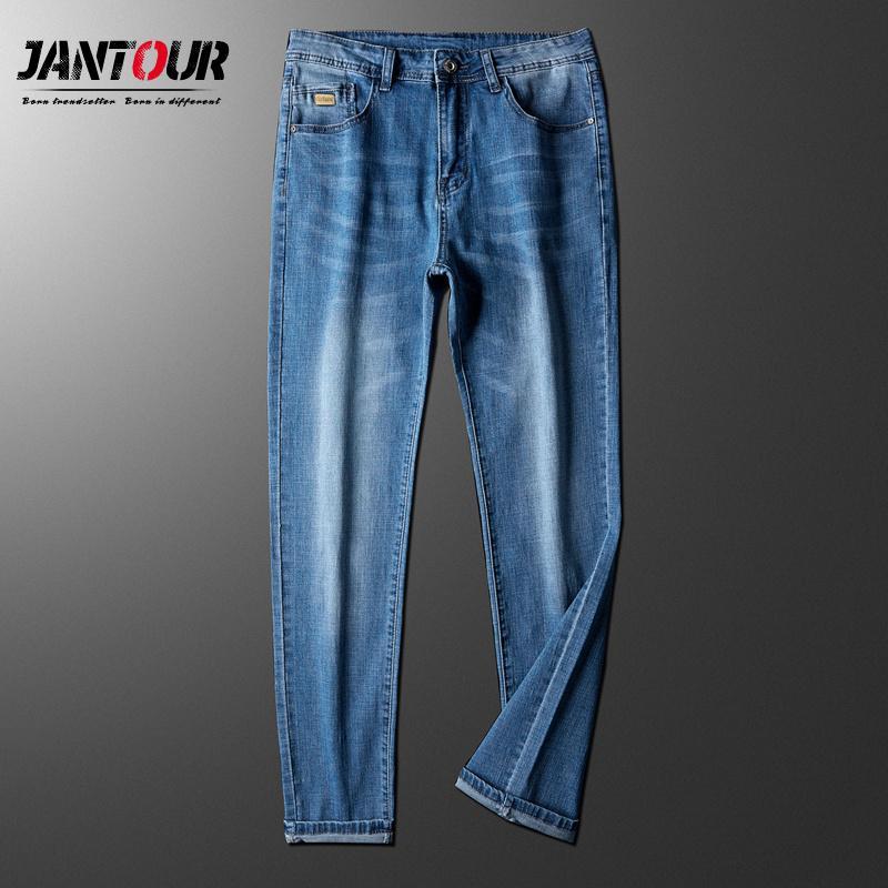 2020 pantalones vaqueros ocasionales de los nuevos hombres del estilo de visita clásica del estiramiento delgado Pantalones vaqueros azul claro Pantalones Hombre Negro de la marca más el tamaño 28-40
