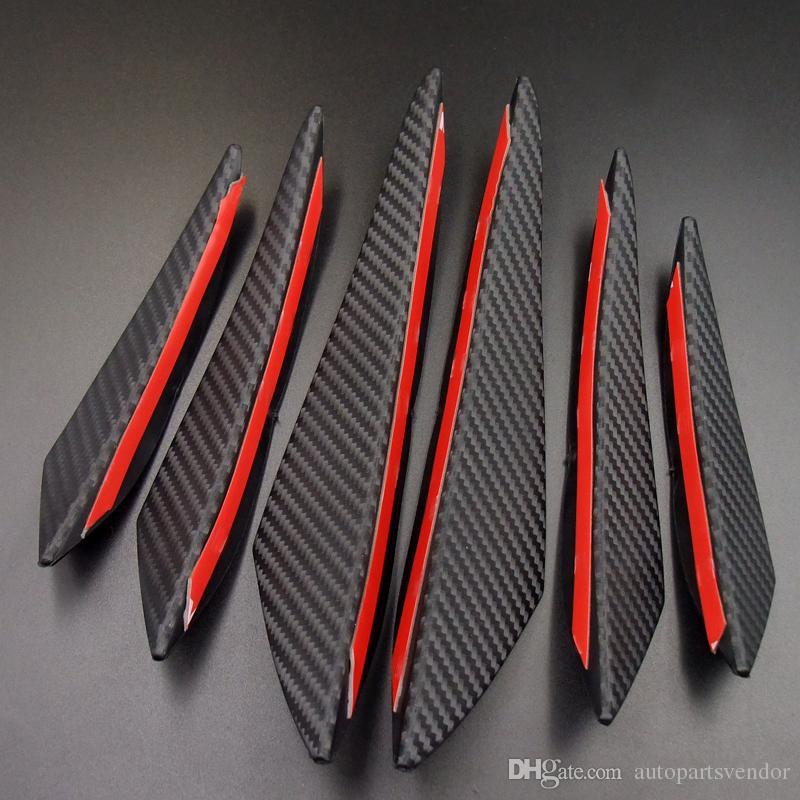 Black Carbon Fiber автомобилей Styling аксессуары переднего бампера Lip Rubber Fin Splitter Спойлер Утка Валентность наклейки