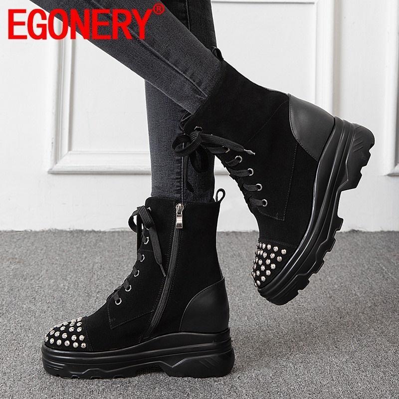 orta topuk platformu yuvarlak ayak çapraz bağlı zip kadın ayakkabı dışında EGONERY 2019 kış yeni ayak bileği botlar nakliye boyutu 34-40 damla