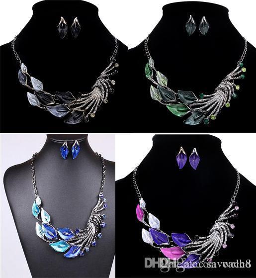 Choker Necklaces Women High Luxury Elegant Lady Purple Peacock Enamel Statement Necklace Delicate Jewelry Gift