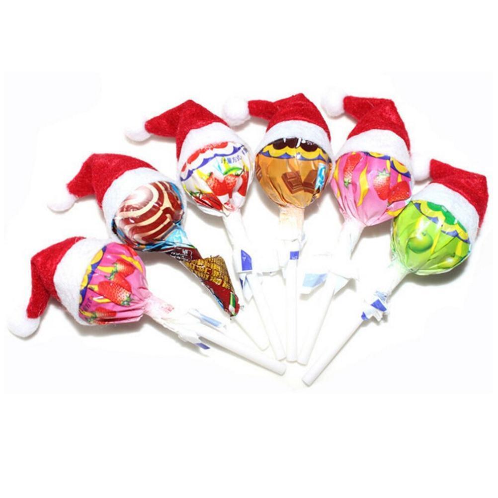30PCS 토퍼 커버 축제 장식 미니 산타 클로스 모자 크리스마스 크리스마스 휴일 롤리팝 최고 도매 핫 세일