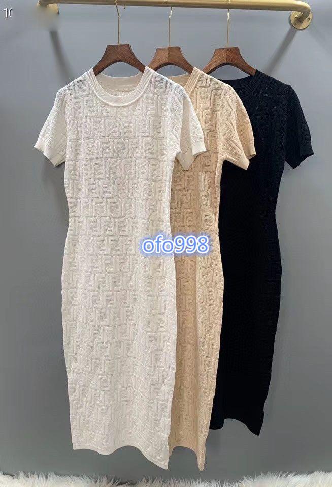 2020 mulheres de ponta meninas jacquard camisa de malha vestido todo carta tripulação pescoço manga curta stretch midi saia apertada vestidos de design de moda