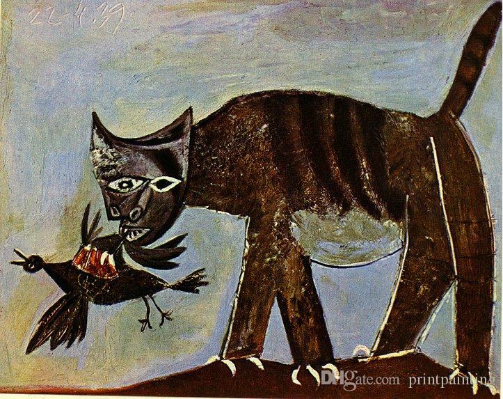 Pablo Picasso Cat pintura a óleo clássica Catching Um pássaro bate-papo Saisissant Un Oiseau 100% Handmade pelo pintor experiente na lona Picasso136