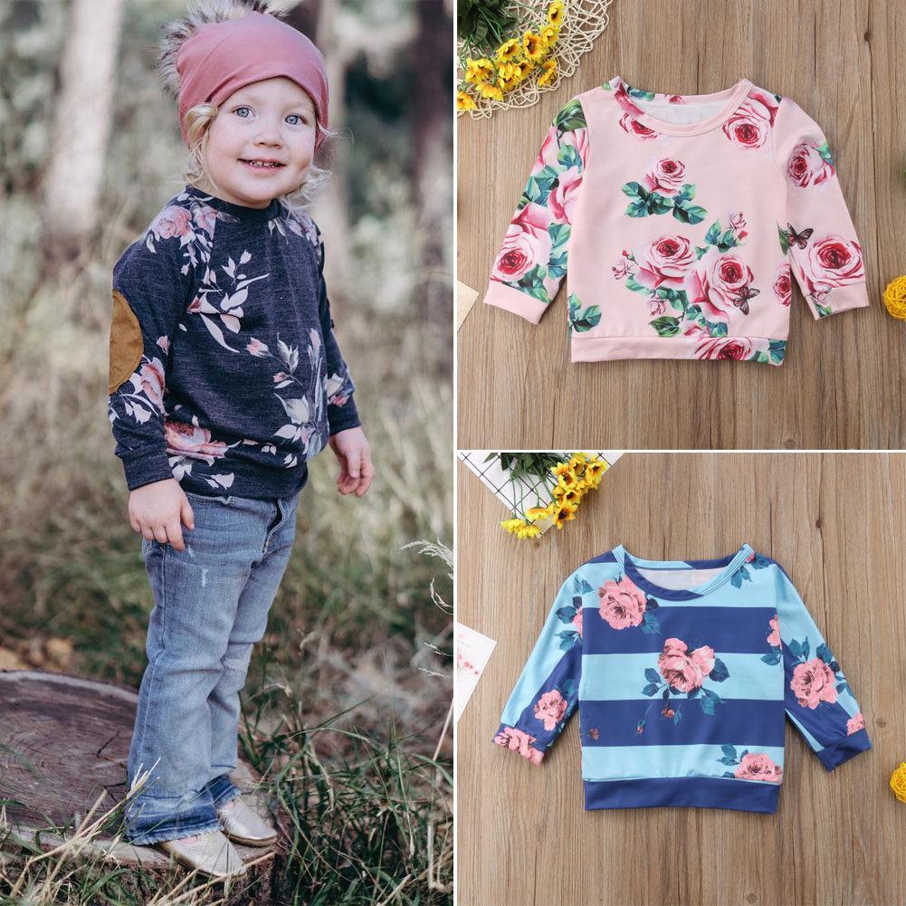 2018 Канис спортивный костюм цветочный малыш дети девочка топы с длинным рукавом футболка толстовка пуловеры осень весна пальто