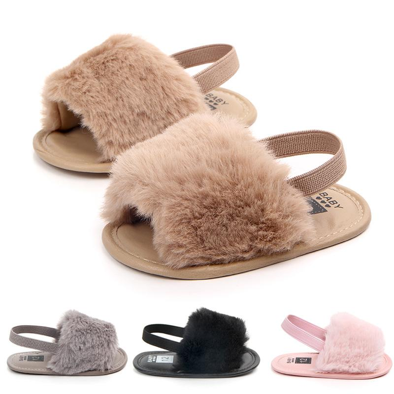 2020 Baby Girl Slides Sandals With Fur