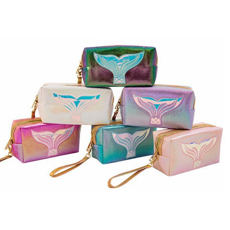 Mermaid Creative Makeup Bag Bag PU Косметическая сумка Водонепроницаемая сумка сумка ручка сумки для хранения лазерное путешествие HHA402 кошелек PFOSJ