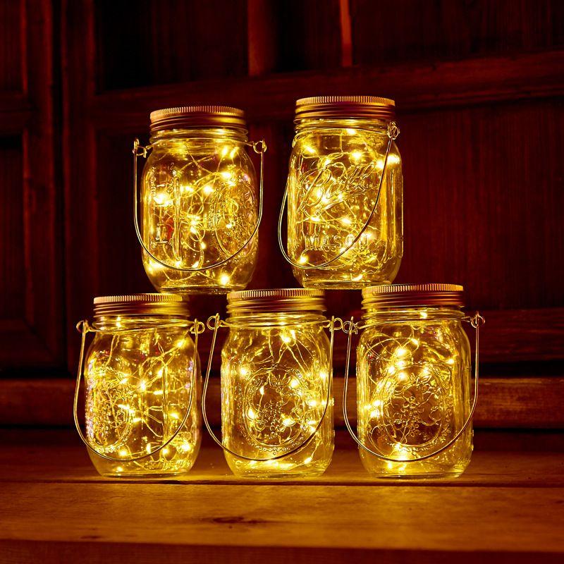 تعمل بالطاقة الشمسية LED ميسون الجرار تضيء غطاء 20leds سلسلة الجنية أضواء برغي ستار على وكي لميسون زجاج الجرار عيد الميلاد حديقة الأنوار