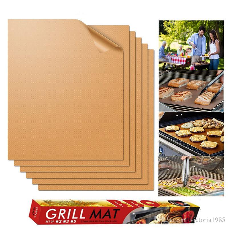 5pcs/set BBQ Grill Mat Copper Non-stick Barbecue Baking Liners Reusable Cooking Sheets PTFE Bakeware Sheet Easy Clean