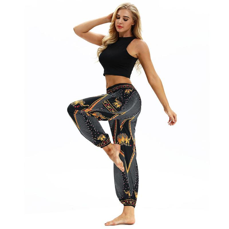 Loose Yoga Leggings High Waist Quick Drying Outdoor Leisure Pants Gold Elephant Pattern Animal Print Fitness Legging With Pocket