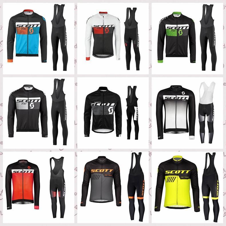 Scott Cycling Mangas largas Jersey Pantalones de babero Conjuntos de bicicletas de manga larga para hombres Uniforme de deportes de deportes cómodos Jersey Jersey Traje Y20112102