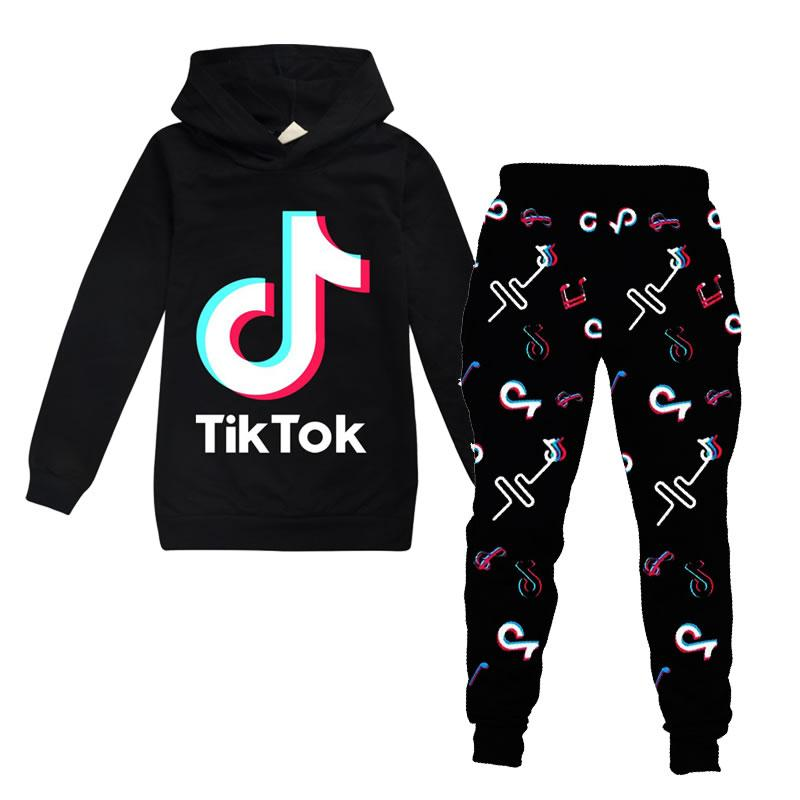 Tik Tok Set For Big Boy Girl Tracksuit Clothes Autumn Winter Tiktok Kid Hooded Sweatshirt+Print Pant 2PC Outfit Children Sport Suit 12 Year